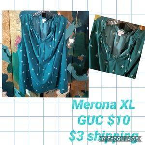 Merona XL Teal sleeveless blouse